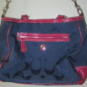 Coach Navy Blue & Magenta Signature Laura Handbag
